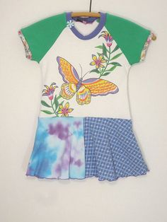 Upcycled OOAK Eco Friendly Girl Size 3 Butterfly by TwoSweetMamas, $33.00