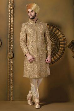#Beige & #gold silk #jodhpuri stunning #sherwani with full sleeves & #cream churidar -IW344