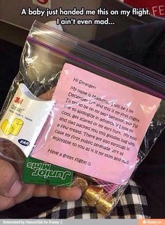 Great idea for baby's first plane ride ! LOL
