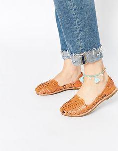 Image 1 of Glamorous Tan Woven Flat Shoes