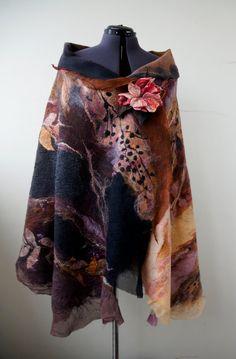 Nuno felted scarf shawl poncho felting wool luxury floral romantic tippet stole…