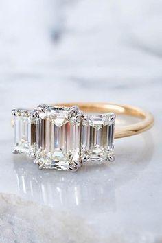 Engagement Ring Types, Emerald Cut Diamond Engagement Ring, Elegant Engagement Rings, Emerald Cut Rings, Three Stone Engagement Rings, Designer Engagement Rings, Emerald Cut Wedding Band, Diamond Rings, Elegant Wedding Rings