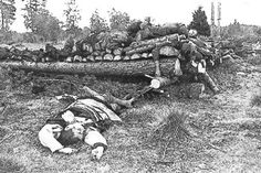Bodies of Jewish victims piled up for burning at Klooga, Estonia. Klooga was one of the work camps for Jews sent from Kaunas and Vilna in May 1943 to work in slate mining and on fortifications. When the war turned against Germany, special SS units were sent out to obliterate traces of German crimes. In September 1944, the arrival of Soviet forces interrupted the preparations for the burning of victims.