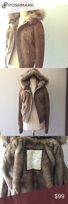 246a8bd4ca Abercrombie & Fitch Faux Fur Coat M Great condition! You can remove the  hood and just wear it as a collared jacket if you want. No damage.