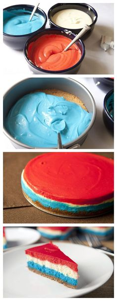 Red, White and Blue Cheesecake recipe! Let& CELEBRATE baby! Or, do yellow, white and orange like candy corn for Halloween! of July Desserts 4th Of July Desserts, Fourth Of July Food, Holiday Desserts, Holiday Treats, Just Desserts, Holiday Recipes, Delicious Desserts, Yummy Food, July 4th
