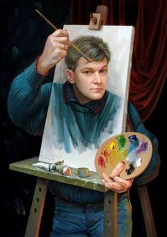 Optical illusions in art, by Oleg Shuplyak, {self portrait} Illusion Kunst, Illusion Art, Illusion Paintings, Art And Illustration, Images D'art, Wow Art, Norman Rockwell, Art Design, Surreal Art