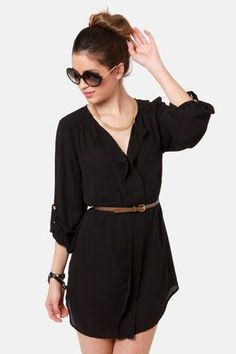 belted teal and black shirt dress