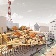 Tokyo Pop Lab by Nima Nian and Behdad Heydari – aasarchitecture A As Architecture, Architecture Graphics, Architecture Drawings, Urban Landscape, Landscape Design, Urban Intervention, Arch Model, Urban Planning, Diy Garden Decor