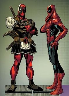Spider-Man: deadpool, why are you wearing a maids outfit?  Deadpool: hey, these are all the rage over in London
