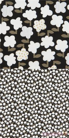 """black cotton sheeting fabric with flowers in white and taupe, Material: 100% cotton, Fabric Type: smooth cotton printed sheeting fabric, Pattern Repeat: ca. 16cm (6.3"""") #Cotton #Flower #Leaf #Plants #JapaneseFabrics"""
