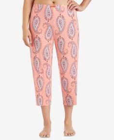 Ellen Tracy Plus Size Cropped Pajama Pants - Orange 2X