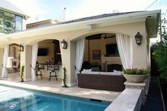 attached covered patio cabana with curtains | Freestanding Loaded Pool Cabana - Texas Custom Patios