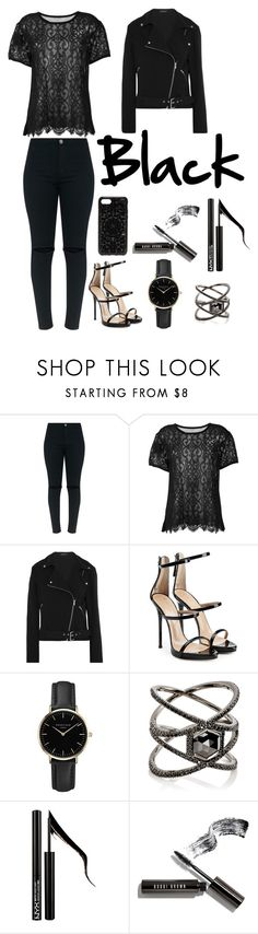 """""""Black"""" by cherryblossoms19 ❤ liked on Polyvore featuring Twin-Set, Equipment, Giuseppe Zanotti, ROSEFIELD, Eva Fehren, Forever 21, Bobbi Brown Cosmetics and Felony Case"""