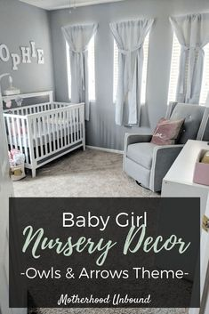 This owls and arrows theme baby girl nursery is simply adorable! From grey nursery walls, to cute pink owls, to DIY curtains, this is such a cute nursery idea. It's perfect for little girls to grow into as they go from baby to toddler. There are several budgeting and DIY nursery tips included too! | Baby Girl Nursery Décor Ideas | Nursery Décor on a Budget