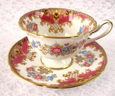 Shelley Pink Sheraton Cup and Saucer England Gainsborough Gold Trim