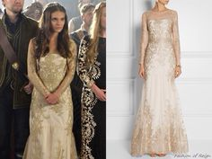 """In the episode 2x03 (""""Coronation"""") Lady Kenna wears this Notte by Marchesa Embroidered Tulle Gown"""