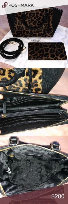 """MK W/FREE GIFT 🌹OFFERS WELCOMED!! 🌹 New, never used w/tags (tags not attached). Got it for my birthday and never used it. The photo of the bottom of the purse has two tiny spots that were there when I bought it. I believe they can be cleaned up. There is minimal hardware scratches from it sitting on my shelf and taking it out to show potential buyers. No wear on handles or strap. Strap is 54"""" and can be adjusted smaller. Approx size 11x9x4. The Fur is soft on Purse & Wallet. Small pull in…"""