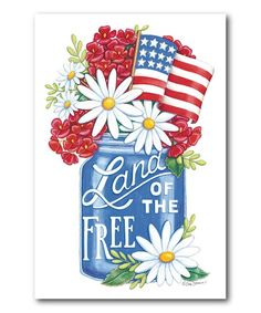 Courtside Market Land of the Free Blue Mason Jar Wrapped Canvas Blue Mason Jars, Land Of The Free, Free Canvas, American Spirit, Wrapped Canvas, Invitations, Floral, Wall Hangings
