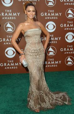 2006 Grammys: Beyonce wore a taupe and gold Elie Saab strapless gown with intricate embroidery. Gorgeous dress! Fits Beyonce like a glove!
