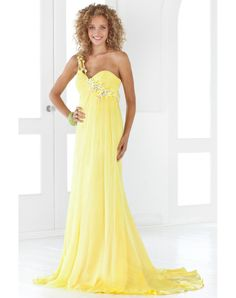 Appliques One Shoulder Chiffon A-line Formal Dress