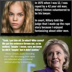 before you vote, how do you feel about this little girl? 12 years old and what happened to her and what H Clinton did about it. Liberal Hypocrisy, Liberal Logic, Politicians, Weird Facts, Fun Facts, Trivia Facts, Political Views, Political Satire, Political Events