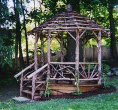 Another roof design for the dream gazebo. Diy Gazebo, Backyard Gazebo, Garden Gazebo, Backyard Garden Design, Backyard Landscaping, Garden Sheds, Rustic Outdoor Bar, Rustic Pergola, Small Natural Garden Ideas