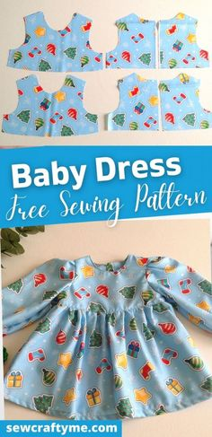 How to Make a Baby Dress with Sleeves - Sew Crafty Me Easy Sewing Projects, Sewing Tutorials, Sewing Ideas, Sewing Patterns, Baby Sewing, Free Sewing, Free Baby Patterns, Bunny And Bear, Black And White Baby