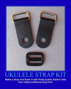 Ukulele Strap Kit Do-It-Yourself 1 Inch Wide by ASpinnerWeaver