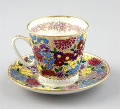 russian tea cup and saucer | ... / EXQUISITE PORCELAIN / Vorobyevsky / Spring Flowers Cup and Saucer