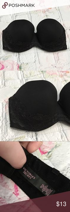 Body by Victoria Lined Strapless Bra Good used condition. Still lots of wear left, the only spots with noticeable wear is the straps as shown in the fifth and sixth photos. The detachable straps are not included. Body by Victoria Lined Strapless Bra with lace around the bottom of the cups.  Pet Friendly Home, Smoke Free Home , No trades. Offers, Bundles, and Questions Encouraged Victoria's Secret Intimates & Sleepwear Bras