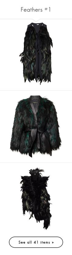 """""""Feathers #1"""" by seven07monorail ❤ liked on Polyvore featuring outerwear, vests, jackets, tops, feather vest, silk vest, gilet vest, vest waistcoat, balmain and coats"""