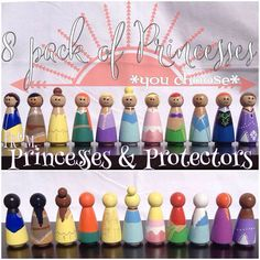 8 Princess Peg Dolls of your Choice Elsa, Anna, Cinderella, Ariel, Jasmine, Snow White, Pocahontas, Belle, Aurora, Rapunzel, Tinkerbell