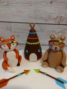 Fondant Tribal Woodland Cake Toppers Fondant Bear Fox | Etsy Woodland Cake, Woodland Theme, Woodland Party, Tribal Fox, Tribal Animals, Baby Cake Topper, Fondant Cake Toppers, Clay Crafts For Kids, Fondant Animals