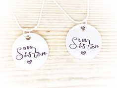 Personalised Necklace - 2 Sisters Necklaces - Sister Necklace - Handstamped Necklace on Etsy, £20.00