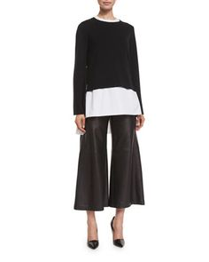 Top,+Tunic+&+Culottes+by+Adam+Lippes+at+Neiman+Marcus. Leather Pieces, Smooth Leather, Neiman Marcus, Topshop, Normcore, Tunic Tops, Pants, Shopping, Style