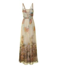 Another great find on #zulily! Cream & Pink Floral Beaded Maxi Dress #zulilyfinds
