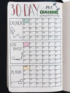 Bullet Day Fitness Challenge Tracker stay dedicated and commited with this Bullet Journal Tracker idea by Yuka Suzuki Bullet … Bullet Journal Tracker, Bullet Journal Fitness, Bullet Journal Sport, Bullet Journal 30 Days, Bullet Journal Workout, Bullet Journal Ideas Pages, Bullet Journal Layout, Journal Pages, Journal List