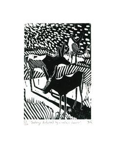 "Museums Sheffield — ""Donkeys Disturbed"" Linocut Print by James Green"