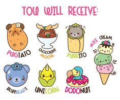 Kawaii clip art, animals clipart, kawaii food clipart, funny clipart, cute animals clipart, ice crea
