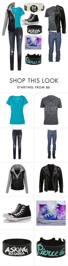 """""""Concert outfit 4"""" by mpelainemegan ❤ liked on Polyvore featuring American Eagle Outfitters, True Religion, Naked & Famous, LE3NO, VIPARO and Converse"""