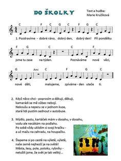 Písnička do skolky Fall Preschool, Preschool Themes, Autumn Activities, Toddler Activities, Music Do, Exercise For Kids, Kids Songs, First Day Of School, Sheet Music