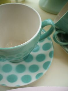 aqua polka dot's tea cup and saucer Color Limon, Turquoise Cottage, My Favorite Color, My Favorite Things, Mint, Sea Foam, Tiffany Blue, Aqua Blue, Blue Dots