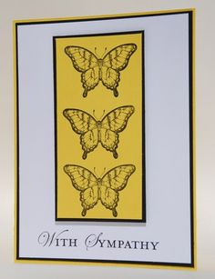 Trio of Butterflies For Handcrafted With Sympathy Greeting Card | cardsbylibe - Cards on ArtFire