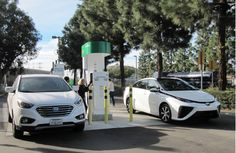 2015 Hyundai Tucson Fuel Cell, 2016 Toyota Mirai at hydrogen fueling station… Electric Motor, Electric Cars, Tucson, Hydrogen Car, Fuel Cell Cars, Toyota, Future Transportation, Electrical Energy, Solar Energy