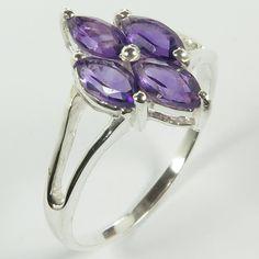 Elegant Ring Size US 8 Genuine Purple AMETHYST Gemstones 925 Sterling Silver NEW #SunriseJewellers #Fashion