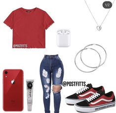red shirt, blue ripped jeans, red shoes, black shoes, old skool VANS Swag Outfits For Girls, Boujee Outfits, Cute Swag Outfits, Teenage Girl Outfits, Cute Comfy Outfits, Teen Fashion Outfits, Teenager Outfits, Stylish Outfits, Jeans Fashion