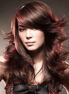 100% Human Hair Red Long Wigs 20 Inch Capless Wavy