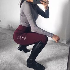 Super Sunday outfit for those not competing. Gorgeous burgundy leggings with our silver base layer