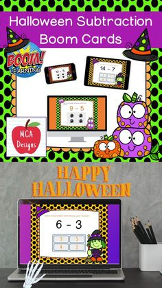 My Halloween Subtraction Digital Task Card set includes 40 task cards which are accessed via Boom Learning. Each digital task cards focuses basic subtraction facts 0-20. All task cards are accented with bright colors and Halloween themed graphics. #teacherspayteachers #tpt #boomcards #boomlearning