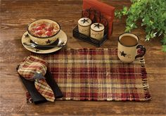 Turnberry Placemat and matching cloth napkin. Shown with Star Vine ceramics @ CountryPorch.com